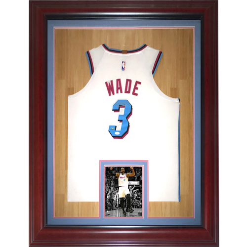 Dwyane Wade Autographed Miami Heat White Vice 3 Deluxe Framed Jersey Jsa Palm Beach Autographs