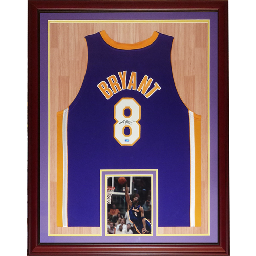 new york 72c2a ce176 Kobe Bryant Autographed Los Angeles Lakers (Purple #8) Deluxe Framed Jersey  - PSA