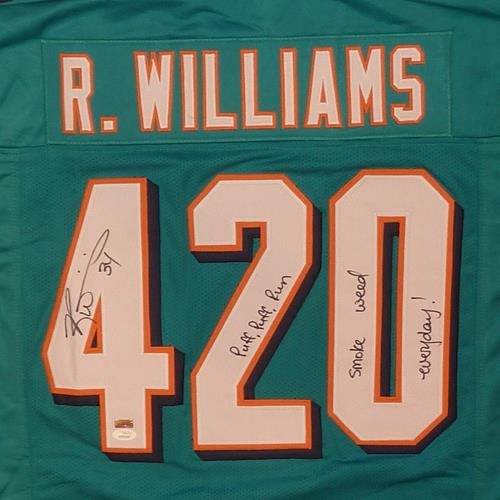 Ricky Williams Autographed Miami Pro-Style (Teal #420) Custom Jersey w/
