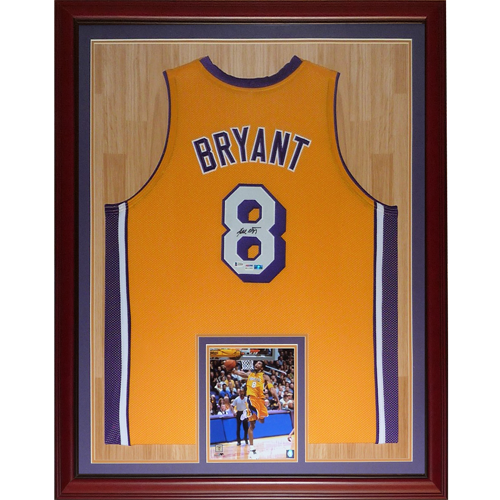 Kobe Bryant Autographed Los Angeles (Yellow #8) Deluxe Framed Jersey - PSADNA, Beckett Letter